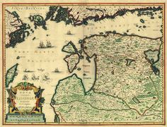 fyeaheasterneurope:  A map of Livonia (a historical region in the Baltics, encompassing modern Latvia and Estonia), made by by Henricus Hondius, Jodocus Hondius, Jan Janssonius and Gerard Mercator in 17th century Amsterdam. Click on source link to embiggen.
