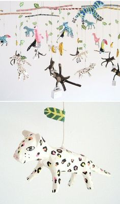 kim baise - quirky papier mache mobiles So cool! Paper Mache Projects, Art Projects, Diy And Crafts, Arts And Crafts, Paper Crafts, Diy For Kids, Crafts For Kids, Paper Mache Animals, Arte Fashion