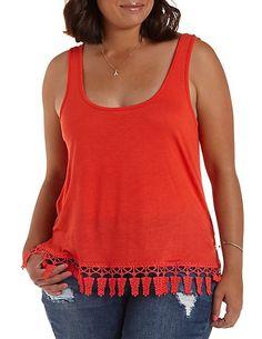 Plus Size Crochet-Trim Tank Top: Charlotte Russe #charlotterusseplus #plus  #tanktop