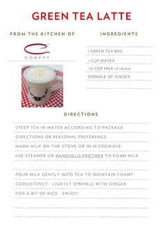 Green Tea Latte - COMPHY BLOG Green Tea Bags, Green Tea Latte, Breakfast In Bed, Recipe Of The Day, Sprinkles, Blog, Bed And Breakfast
