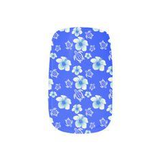 Blue Hibiscus Honu Hawaiian Pattern Nails Sticker