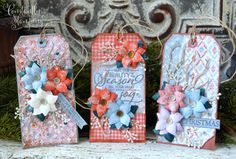 JulyFF2019-001 copy Merry Christmas To All, Christmas In July, Christmas Tag, Holiday Gift Tags, Flower Center, Tag Design, Diamond Pattern, Homemade Cards, 3 D