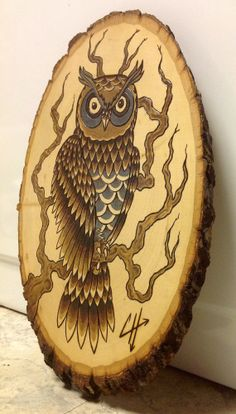 Owl Wood Burning/ Wood stain painting. ONE OF A KIND by Artddicted