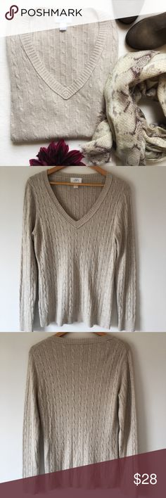"{LOFT} Cable Knit Rabbit Hair Sweater Soft and cozy cable knit sweater. V neck. Ribbed along collar and hems. Color: Oatmeal. 21"" pit to pit. 26 1/2"" long. 46% acrylic 46% nylon 8% rabbit hair. Excellent preloved condition. LOFT Sweaters V-Necks"