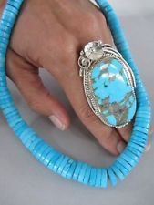 """Massive 2.5"""" Long Vintage Navajo Turquoise Sterling Silver Ring"""