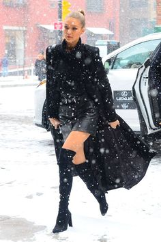 Here's How Gigi Hadid Makes Street Style Look Easy #refinery29  http://www.refinery29.com/2016/01/102185/gigi-hadid-style-pictures#slide-8  This is what fashion looks like when you get to take cars everywhere. What snow?...