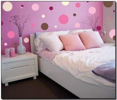 Pink and purple wall idea-exactly the colors Nevaeh asked for lol