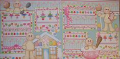 12x12 TWO Premade Scrapbook Pages Layout Christmas Baking / Christmas Gingerbread BTDL TYCAALAK. $55.00, via Etsy.