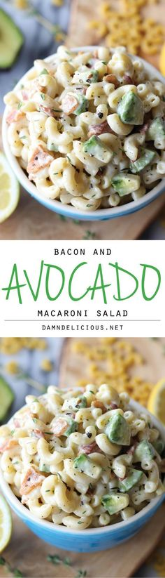 Bacon and Avocado Macaroni Pasta Salad Recipe via Damn Delicious - Loaded with fresh avocado and applewood smoked bacon tossed in a lemon-thyme dressing! Easy Pasta Salad Recipes - The BEST Yummy Barbecue Side Dishes, Potluck Favorites and Summer Dinner Party Crowd Pleasers