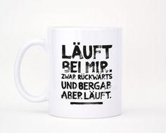 Kaffeetasse mit Spruch: Becher für Deinen morgendlichen Wach-mach-Kaffee. / coffee mug with quote by formart via DaWanda.com