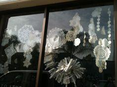 doily snowflake display