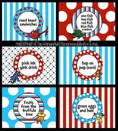 dr. seuss preschool graduation  | Dr. Seuss food labels. | Kailyn's 5th Birthday & Preschool Graduation ...