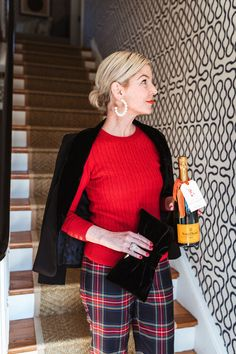 Plaid, Sparkle, and Talbots. — Pencil & Paper Co. Plaid Heels, Plaid Pants, Casual Holiday Outfits, Pencil And Paper, Velvet Blazer, Holiday Looks, Holiday Festival, Cozy Sweaters, Perfect Party