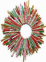 Make a recycled magazine or wrapping paper wreath!