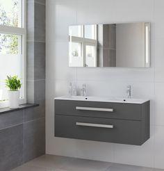 BRUYNZEEL ZETA Grafiet meubelset 120 cm. dubbele wastafel - spiegel - led 223461K badkamerwarenhuis.nl