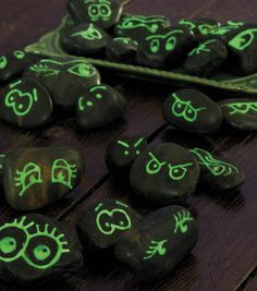 Trick-or-treaters will love these glow-in-the dark rocks!  Hide them in a flower bed to light up a walk way!