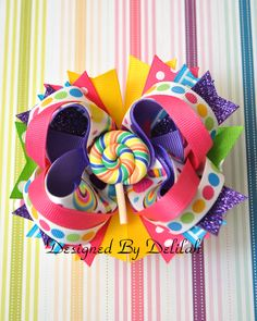 Candy Birthday Bow by CFCreativeCreations on Etsy https://www.etsy.com/listing/197188657/candy-birthday-bow