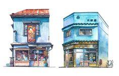 Aquarelas registram a vida das fachadas comerciais de Tóquio