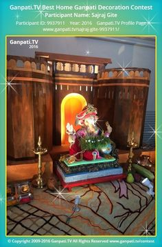 Sajraj Gite Home Ganpati Picture 2016. View more pictures and videos of Ganpati Decoration at www.ganpati.tv