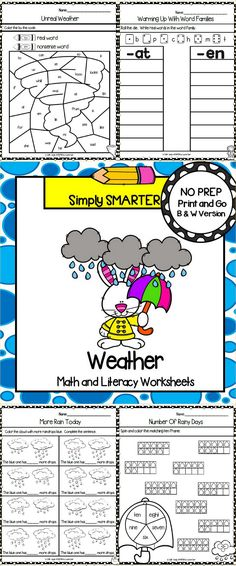 Are you looking for NO PREP math and literacy activities? Then enjoy this math and literacy resource which is comprised of FORTY WEATHER (wild weather, rainy days, rainbows, sunny days, and cloudy days) themed WORKSHEETS. The worksheets can be used for guided math, math centers, word work, literacy centers, early finishers, enrichment, remediation, independent work, morning work, focus lessons, and homework. ALL YOU NEED TO DO IS AND PROVIDE PENCILS, CRAYONS, CLIPS, AND DICE.