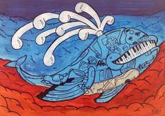 MAGIC MAJA - The Flying Whale   A2    Acrylique