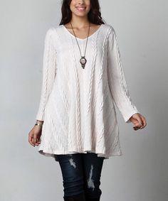 Look at this #zulilyfind! Winter White Cable Knit Tunic - Plus #zulilyfinds