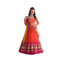 4 New Party Wear Lehenga Choli Designs 2014 Lehenga Choli Designs, Ghagra Choli, Silk Dupatta, Designer Salwar Kameez, Designer Anarkali, Orange Lehenga, Pink Lehenga, Bridal Lehenga, Wedding Lehanga