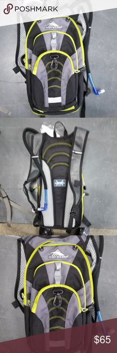 """NWOT High Sierra 18L Hydration Backpack NWOT High Sierra 18L Hydration Backpack. Brand new, never used. Colors are black, gray and lime. A 2L hydration sleeve that is ideal for keeping you hydrated during road biking, trail running and hiking. Multiple compartments, tuck-away helmet holder, expansion gusset, tuck away waist belt, padded back panel and reflective loop. Check out my other listings and hydration packs for sale, bundle & save!  Dimensions: 19"""" x 9"""" x 4""""  *All earnings go to the"""