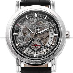 Luxury Watches For Men Automatic Mechanical Mens Skeleton Leather Sport Wrist Watch:Amazon:Cell Phones & Accessories