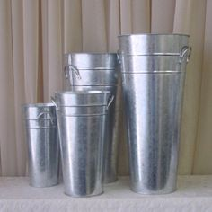 "galvanized french flower buckets   7"": $2.99  9"": $3.55  11"": $4.50  13"": $4.99  15"": $6.50"