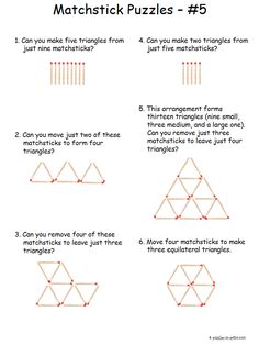 All of these matchstick puzzles involve triangles. Either take away or move the sticks to form new figures according to the directions. Printable Brain Teasers, Brain Teasers Riddles, Brain Teasers For Kids, Brain Teaser Puzzles, Brain Teaser Games, Brain Games, Reto Mental, Crystal Maze, Logic Puzzles