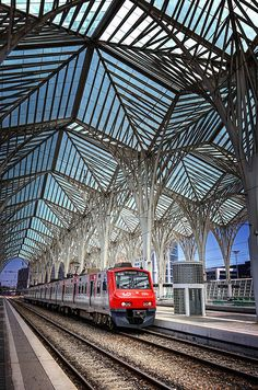 "The wonderful artwork ""Gare Do Oriente Lisbon"" by Carol Japp. #Portugal #Lisbon #railway"