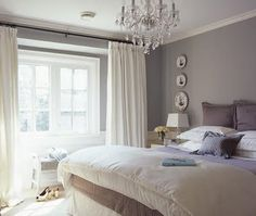 grey walls and white curtains