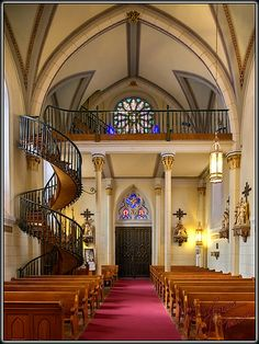 Santa Fe.   The Loretto Chapel - 'Miracle' Staircase
