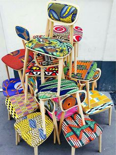 Deco wax : le tissu africain colore la maison - Clem Around The Corner Ethno Design, African Home Decor, African Fabric, African Prints, Ankara Fabric, African Design, African Interior Design, Deco Design, Crafty