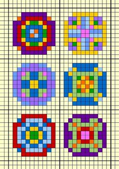 - Small round design chart for cross stitch, knitting, knotting, beading, weaving, pixel art, and other crafting projects.