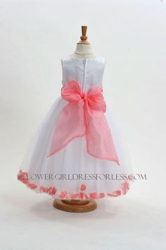 coral flower girl dress | Flower Girl Dress Style 152-Choice of White or Ivory Dress with Coral ...