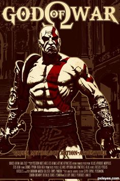 GOD OF WAR picture, by macarhign for: retro posters photoshop contest Game Character, Character Concept, Concept Art, Halo Poster, God Of War Series, New Tomb Raider, Zeus And Hera, Heavenly Sword, Kratos God Of War