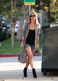 blazer, jean shorts, bootie