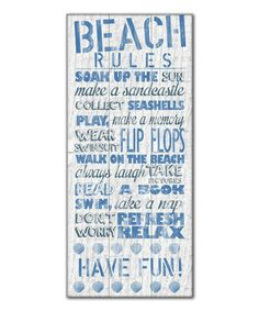 Another great find on #zulily! Blue 'Beach Rules' I Gallery-Wrapped Canvas #zulilyfinds