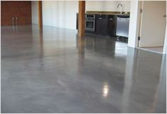 Polished concrete floors: i want this in the house! Residential Polished Concrete Floors, Polished Concrete Flooring, Concrete Bathroom, Concrete Patio, Cleaning Concrete Floors, Garage To Living Space, Sweet Home, New Homes, Modern
