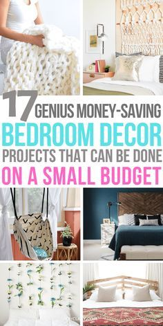 17 Stunning DIY projects for your bedroom. DIY home decor for teens and adults. Best romantic bedroom decor ideas and boho bedroom decor including tuf. Tumblr Bedroom Decor, Bedroom Decor On A Budget, Romantic Bedroom Decor, Simple Bedroom Decor, Decorating On A Budget, Bedroom Ideas, Cozy Bedroom, Modern Bedroom, Contemporary Bedroom
