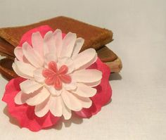 Pink and White Flower Hair Clip, $10.00