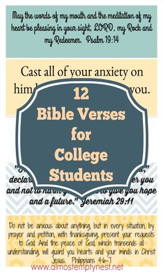 12 Bible verses for college students for encouragment when they are stressed, tired, lonely, or celebrating. Prayers For College Students, Prayer For Students, Quotes For Students, Freshman Quotes, College Quotes, First Day Of College, Going Back To College, Bible College, College Gifts