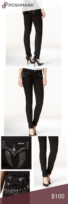 """Miss Me Embellished Black Wash Skinny Jeans Up the glam factor in these Miss Me skinny jeans, for sparkling day-to-night style. Mid rise skinny fit through hips and thighs. Skinny legs, button and zipper closure at front, belt loops, five-pocket styling; embellished flap pockets at back. Black wash with fading and whiskering. Approximate inseam: 30"""". Miss Me Jeans Skinny"""