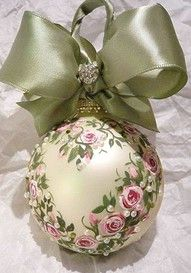 ~` handpainted `~ Boy, I'd have to brush off the dust from my tole paints to make this ornament!  It's gorgeous. . . .