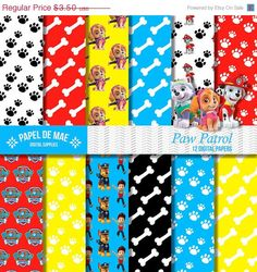 SALE Paw Patrol Digital Paper , Scrapbooking Paper Pack , Paw Patrol Printable Paper , Instant Download