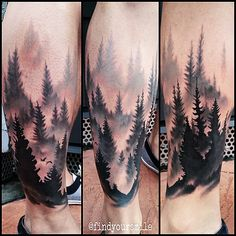 Russell Van Schaick Tattoos — A forest scene I did yesterday. Trendy Tattoos, Tattoos For Guys, Tattoos For Women, Et Tattoo, Piercing Tattoo, Piercings, Body Art Tattoos, Sleeve Tattoos, Tatoos