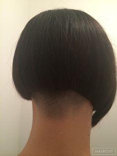 women undercut textured blunt bob side fringe hairstyle