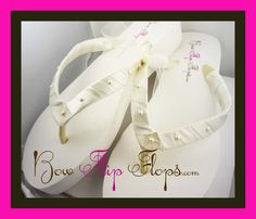 Wedge Bridal Flip Flops Ivory White Pearl Satin by BridalFlipFlops, $39.00